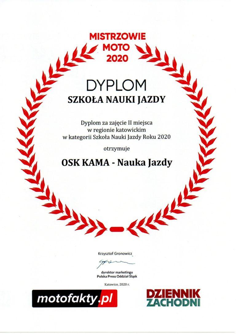 Dyplom za zajęcie II miejsca