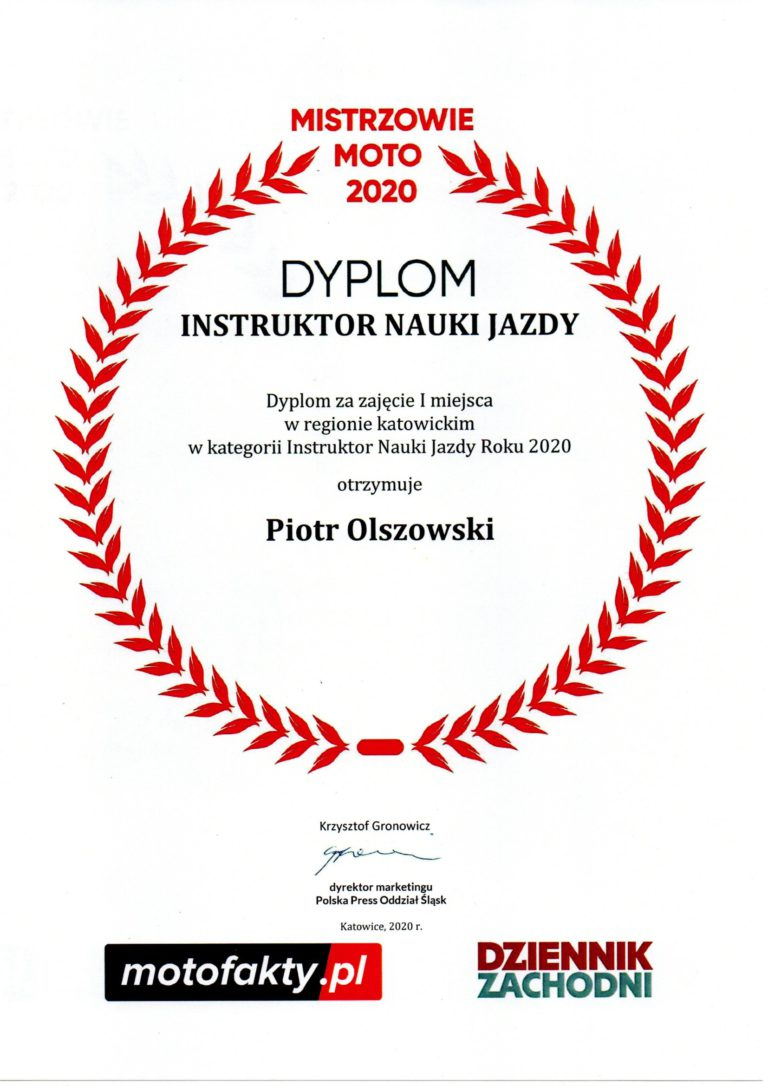 Dyplom za zajęcie I miejsca